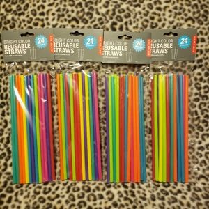 Bright Color Reusable Straws, Pack of 24, 4 Sets